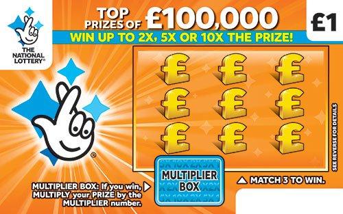 100,000 multiplier orange scratchcard