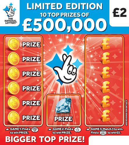 500,000 red scratchcard