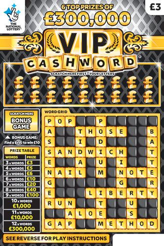 vip cashword black scratchcard