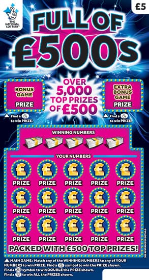 full of £500s 2019 scratchcard