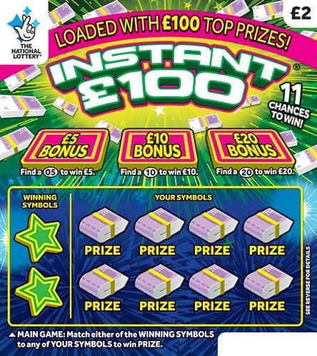 Instant £100 scratchcard 2020