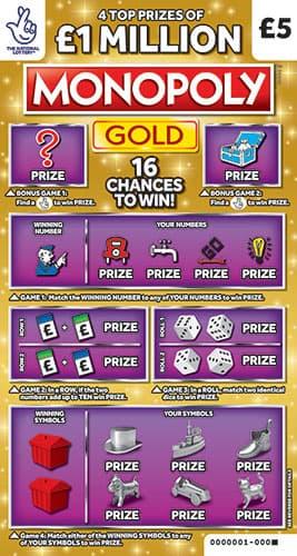 £1 million monopoly gold scratchcard 2020