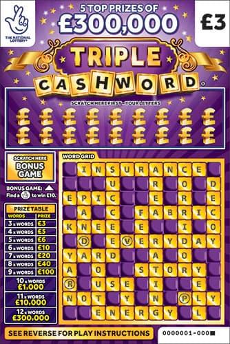 triple cashword purple 2020 scratchcard