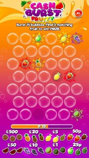 Cash Burst Fruity Instant Win Screenshot