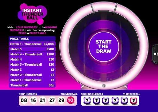 instant thunderball instant win screenshot
