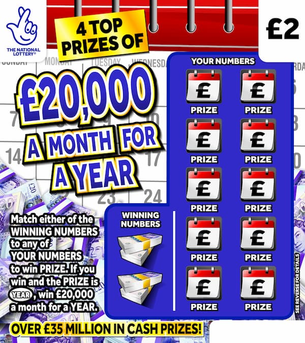 £20,000 a month for a year 2020 scratchcard