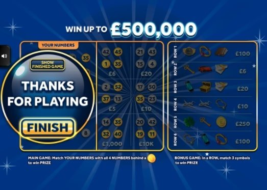 £500,000 Jackpot Blue Instant Win Online Scratchcard