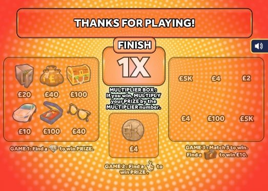 £250,000 Multiplier Orange Scratchcard screenshot